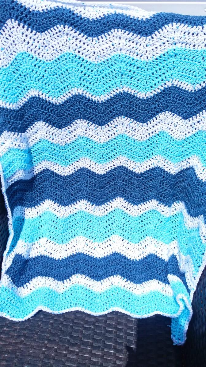 Free Pattern Ocean Blue Ripple Blanket
